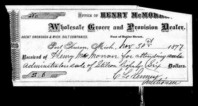 Henry McMorran receipt